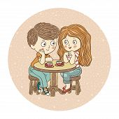 image of tea party  - Color vector illustration - JPG