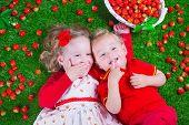 image of strawberry  - Child eating strawberry - JPG