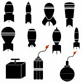 stock photo of nuclear bomb  - Bomb Icon Set Isolated on White Background - JPG