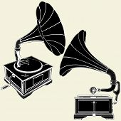 image of hooters  - Nostalgic Retro Antique Gramophone Isolated Illustration Vector - JPG