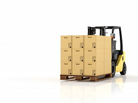 picture of forklift  - a forklift with a pallet boxes - JPG
