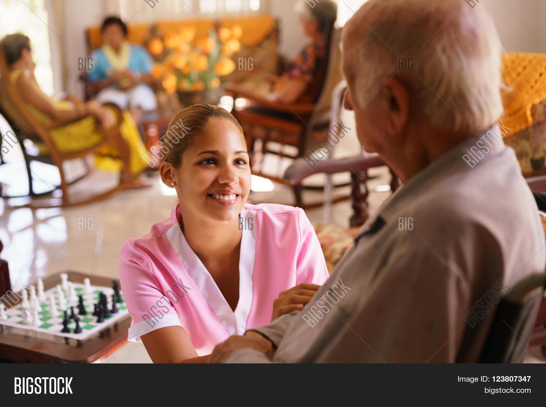 Old man take care nurse 7