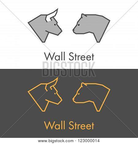 Vector symbol work on Wall Street. Modern bull and bear icon. Golden logo for online trading.