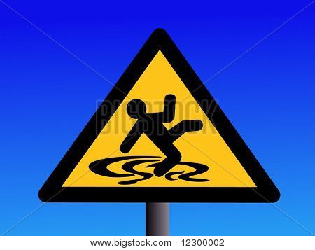 warning wet and slippery floor sign on blue illustration