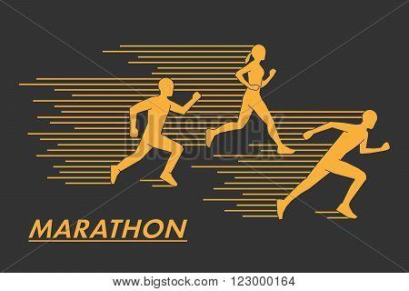Gold vector symbol for the marathon. Modern silhouettes of runners. Geometric shapes runners. Stylish golden logo marathon runners.