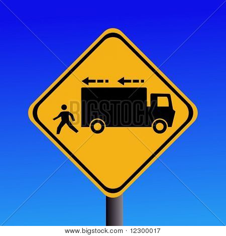 Warning trucks reversing on blue illustration