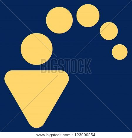 Undo vector pictogram. Image style is flat undo icon symbol drawn with yellow color on a blue background.