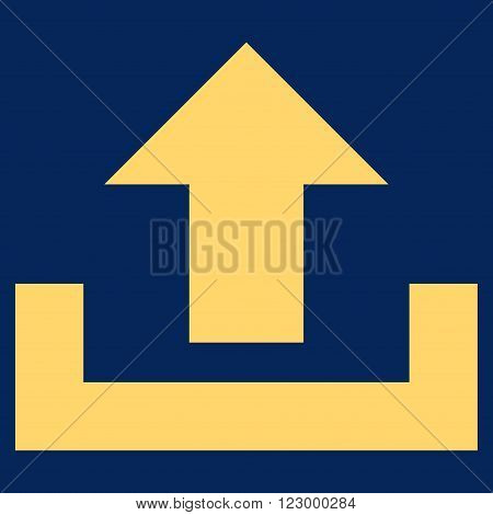 Upload vector icon symbol. Image style is flat upload icon symbol drawn with yellow color on a blue background.