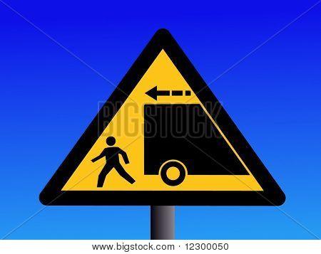 警告卡车倒车蓝色图上的标志