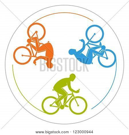 Circular logo Cycling. Vector symbol for cycling club. Colorful icon cyclist. Silhouette of man on bicycle.