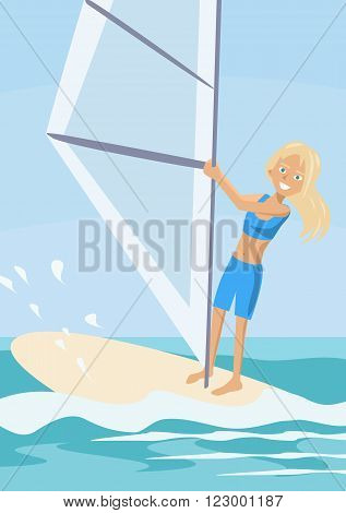 cartoon girl learning windsurfing - colorful vector illustration
