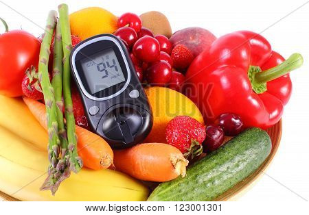 Glucose meter with fresh ripe fruits and vegetables concept of diabetes healthy food nutrition and strengthening immunity