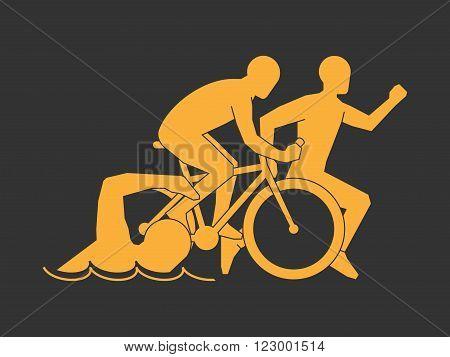 Gold symbol triathlon. Vector modern logo triathlon club. Modern triathlete silhouettes on a black background.