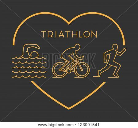 Modern outline triathlon symbol. Vector figures triathlete. Gold line triathlon logo. Love triathlon symbol. Vector icons triathlon.