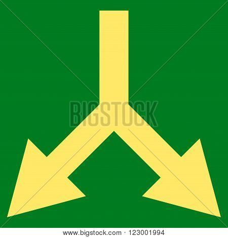 Bifurcation Arrow Down vector pictogram. Image style is flat bifurcation arrow down icon symbol drawn with yellow color on a green background.