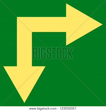 Bifurcation Arrow Right Down vector pictogram. Image style is flat bifurcation arrow right down iconic symbol drawn with yellow color on a green background.