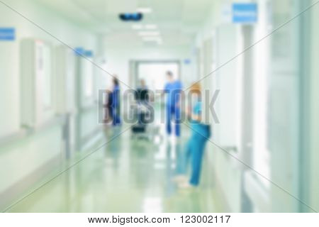 ICU corridor. Daily routine in hospital. Blurred motion