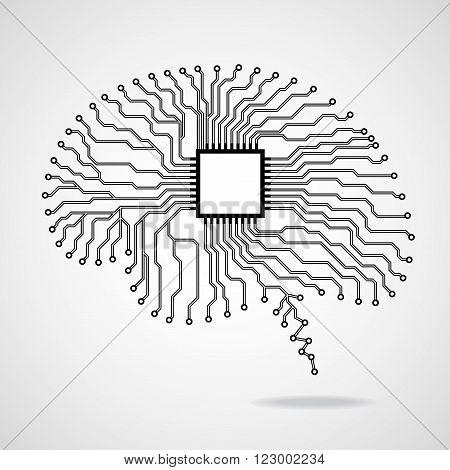 Brain. Cpu. Circuit board, abstract shape, head