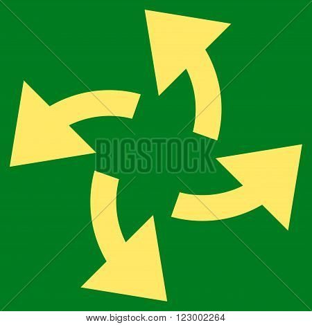 Centrifugal Arrows vector symbol. Image style is flat centrifugal arrows icon symbol drawn with yellow color on a green background.