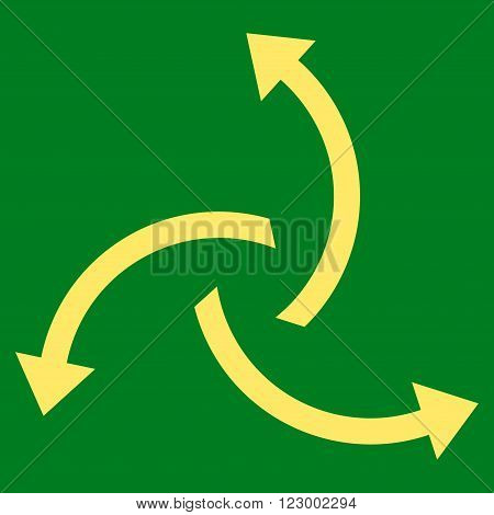 Centrifugal Arrows vector icon. Image style is flat centrifugal arrows icon symbol drawn with yellow color on a green background.