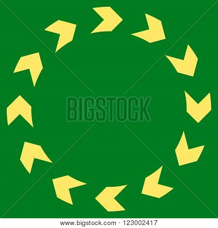 Circulation vector icon symbol. Image style is flat circulation icon symbol drawn with yellow color on a green background.