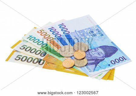 South Korean Won Currency isolated on white background.