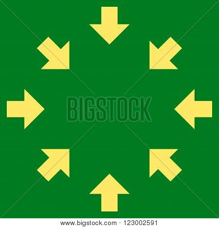 Compact Arrows vector icon. Image style is flat compact arrows pictogram symbol drawn with yellow color on a green background.