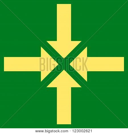 Compress Arrows vector icon symbol. Image style is flat compress arrows iconic symbol drawn with yellow color on a green background.