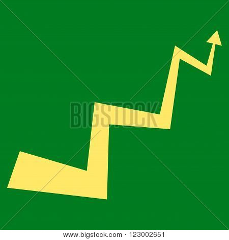 Curve Arrow vector pictogram. Image style is flat curve arrow pictogram symbol drawn with yellow color on a green background.
