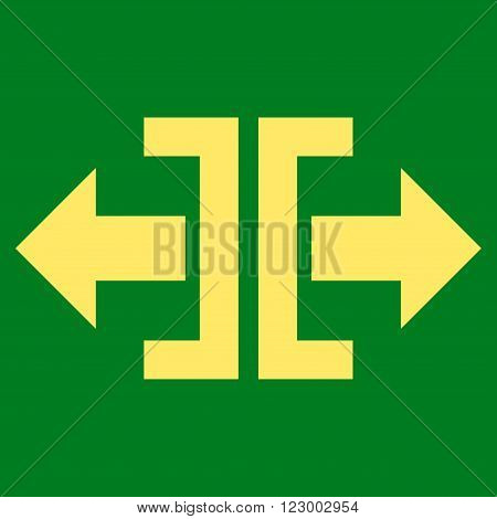 Divide Horizontal Direction vector icon. Image style is flat divide horizontal direction pictogram symbol drawn with yellow color on a green background.