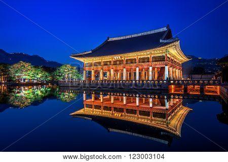 Gyeongbokgung Palace at night in seoul Korea.