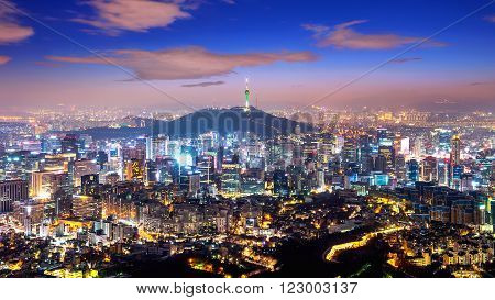 View of downtown cityscape and Seoul tower in Seoul South Korea.