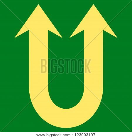 Double Forward Arrow vector icon symbol. Image style is flat double forward arrow icon symbol drawn with yellow color on a green background.