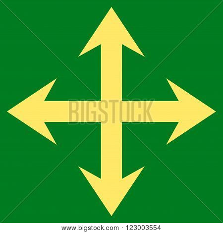 Expand Arrows vector icon. Image style is flat expand arrows iconic symbol drawn with yellow color on a green background.