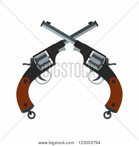 Crossed revolvers icon isolated on white background