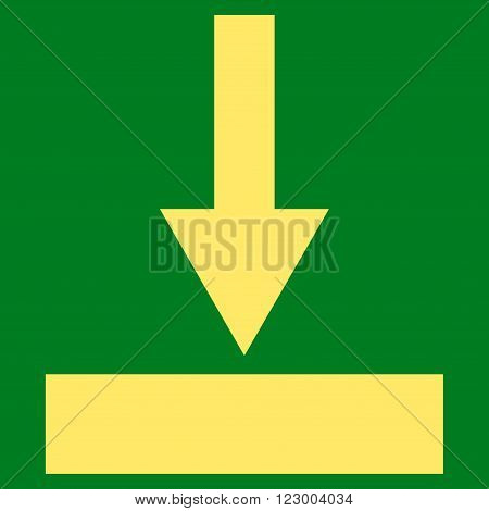 Move Bottom vector symbol. Image style is flat move bottom pictogram symbol drawn with yellow color on a green background.