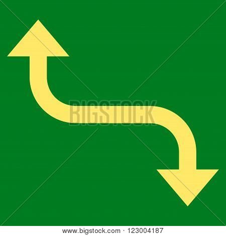Opposite Bend Arrow vector symbol. Image style is flat opposite bend arrow icon symbol drawn with yellow color on a green background.