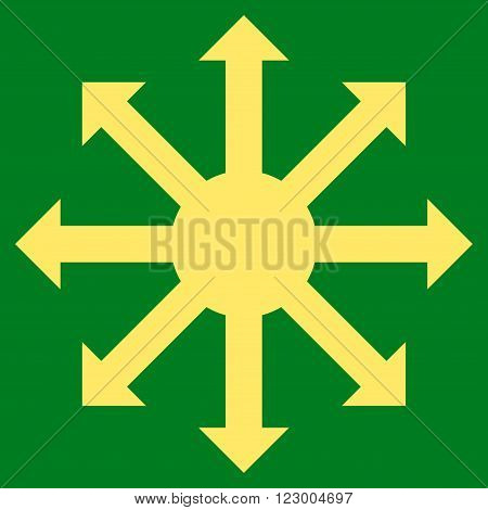 Radial Arrows vector symbol. Image style is flat radial arrows icon symbol drawn with yellow color on a green background.