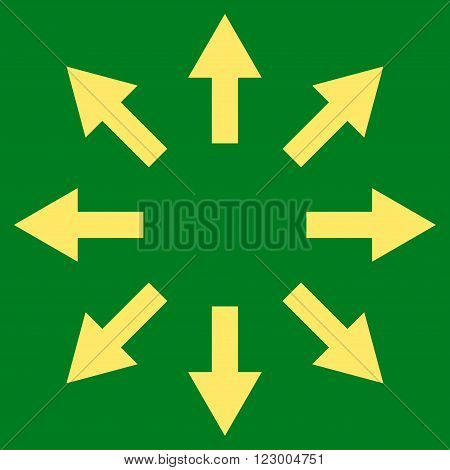 Radial Arrows vector symbol. Image style is flat radial arrows iconic symbol drawn with yellow color on a green background.