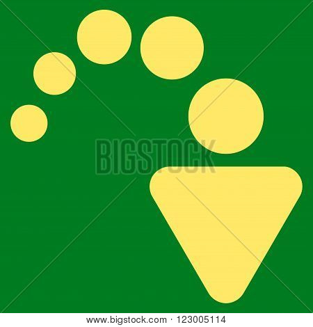 Redo vector icon. Image style is flat redo iconic symbol drawn with yellow color on a green background.
