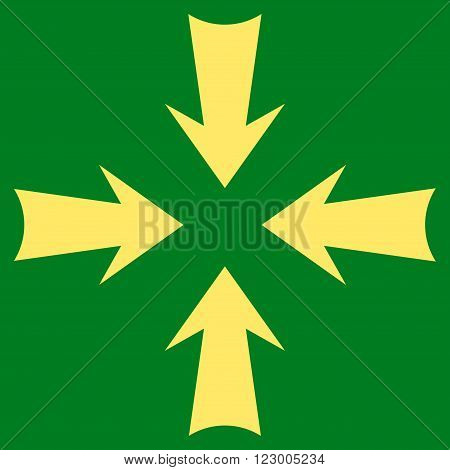 Reduce Arrows vector pictogram. Image style is flat reduce arrows pictogram symbol drawn with yellow color on a green background.