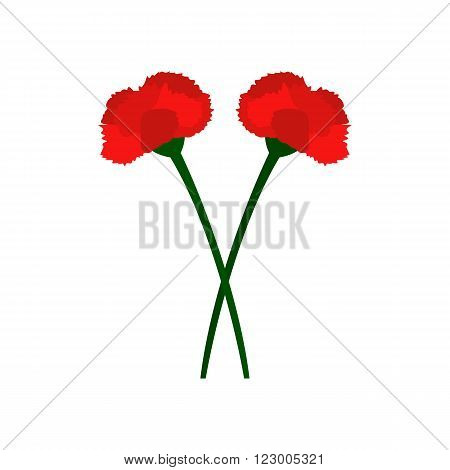 Two red carnation flowers icon in flat style isolated on white background