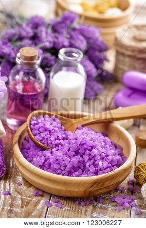 lavender spa set with sea salt and toiletries