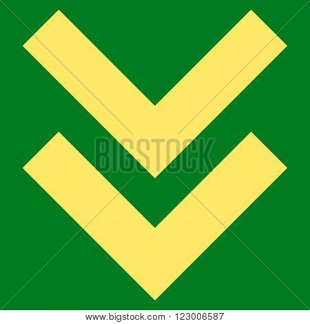 Shift Down vector symbol. Image style is flat shift down iconic symbol drawn with yellow color on a green background.