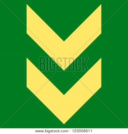 Shift Down vector icon symbol. Image style is flat shift down icon symbol drawn with yellow color on a green background.