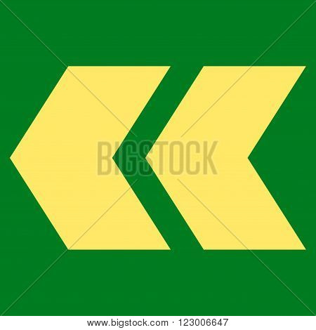 Shift Left vector icon symbol. Image style is flat shift left pictogram symbol drawn with yellow color on a green background.