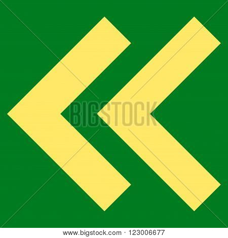 Shift Left vector pictogram. Image style is flat shift left icon symbol drawn with yellow color on a green background.
