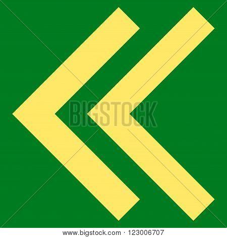 Shift Left vector pictogram. Image style is flat shift left pictogram symbol drawn with yellow color on a green background.