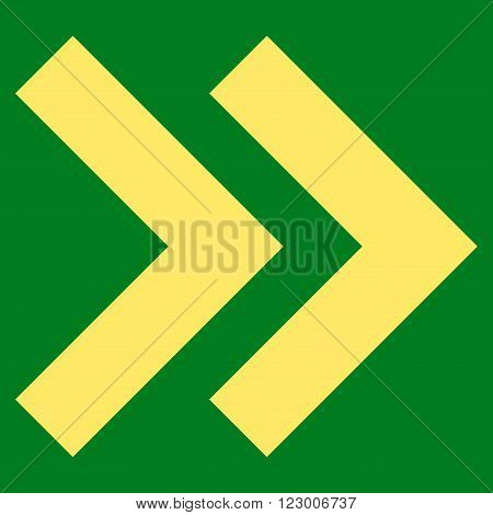 Shift Right vector symbol. Image style is flat shift right icon symbol drawn with yellow color on a green background.