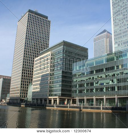 modern architecture of Docklands skyline London England